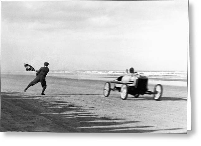 Daytona Beach New Year's Races Greeting Card by Underwood Archives