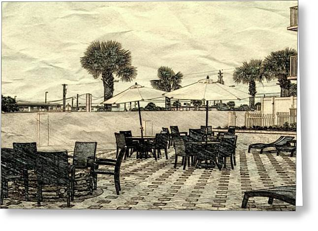 Patio Table And Chairs Mixed Media Greeting Cards - Daytona Patio Greeting Card by Pamela Blayney