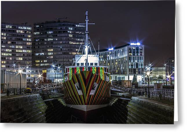 Dazzled Greeting Cards - Dazzle Ship Greeting Card by Paul Madden