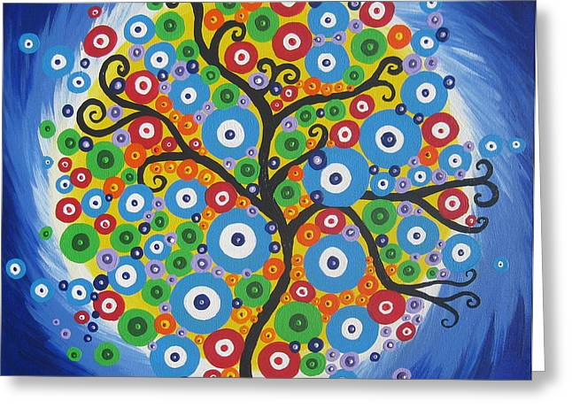 Dazzle Tree Greeting Card by Cathy Jacobs