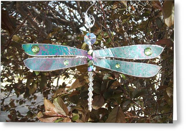 Iridescent Glass Art Greeting Cards - Dazzling Dragonfly Suncatcher Ornament In Iridescent Green-Teal  Greeting Card by Wendy Wehe-Ballone
