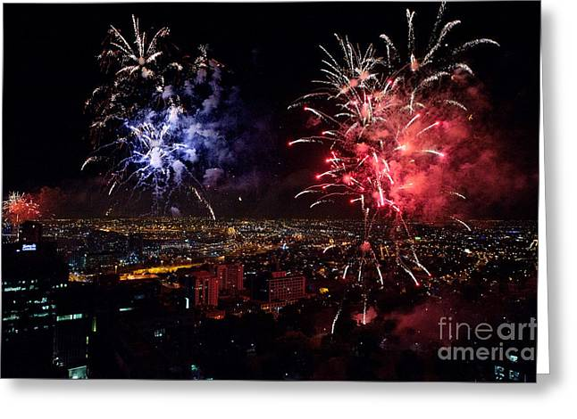 Skyrockets Greeting Cards - Dazzling Fireworks II Greeting Card by Ray Warren
