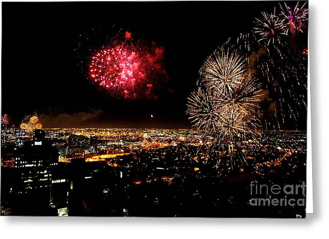 Skyrockets Greeting Cards - Dazzling Fireworks III Greeting Card by Ray Warren