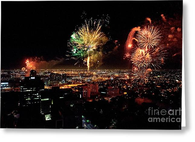 Skyrockets Greeting Cards - Dazzling Fireworks IV Greeting Card by Ray Warren
