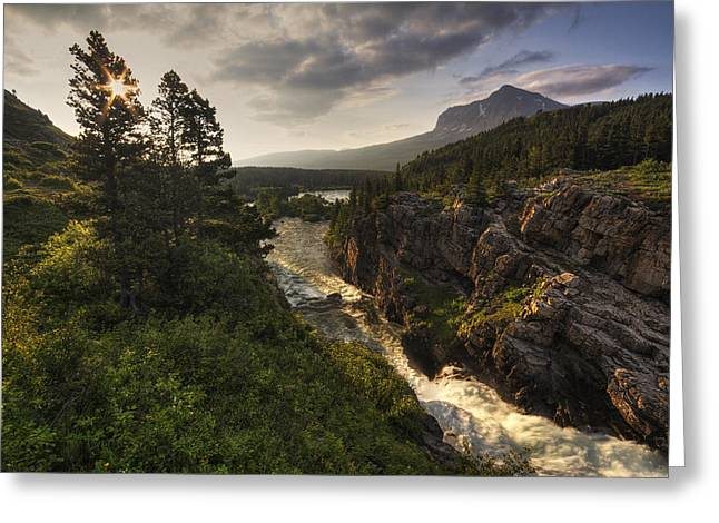 Swiftcurrent Falls Greeting Cards - Dazzling Many Glacier Greeting Card by Mark Kiver