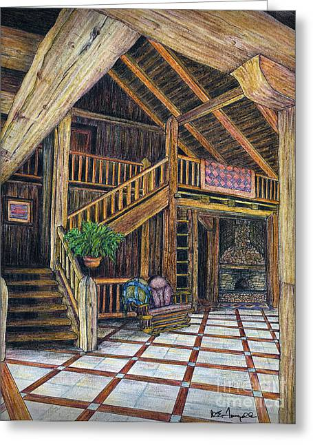 Log Cabin Interiors Greeting Cards - DB Cabin Mixed Media Greeting Card by Walt Foegelle