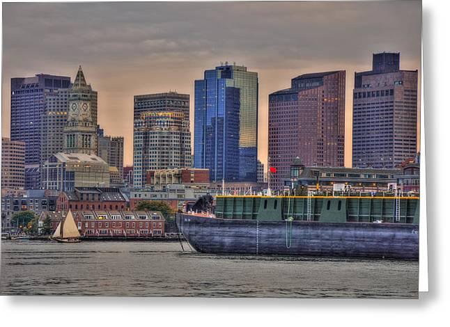 Boston Ma Greeting Cards - DBL 134 Barge - Boston Greeting Card by Joann Vitali