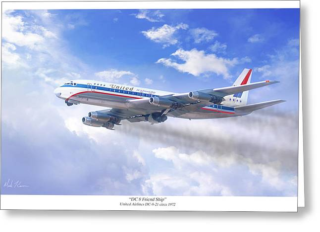 Civil Aviation Greeting Cards - DC 8 Friend Ship Greeting Card by Mark Karvon