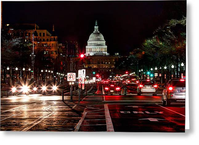 Congress Street Greeting Cards - DC in the Dark Greeting Card by Walt  Baker
