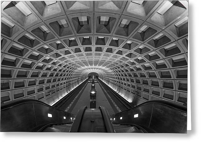 Escalator Greeting Cards - D.C. Subway Greeting Card by Dustin  LeFevre