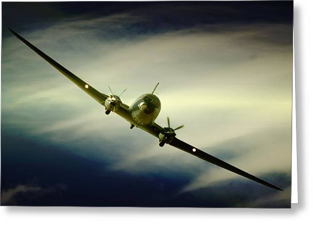 Dc-3 Greeting Cards - DC3 Clouds Greeting Card by Paul Job