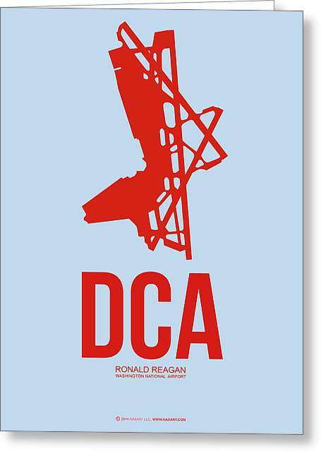 Tourists Greeting Cards - DCA Washington Airport Poster 2 Greeting Card by Naxart Studio