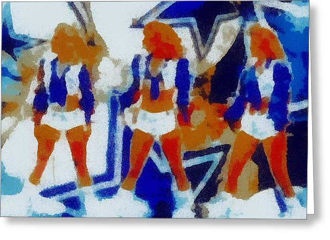 Cowboys Cheerleaders Greeting Cards - Dcc Trio Greeting Card by Carrie OBrien Sibley
