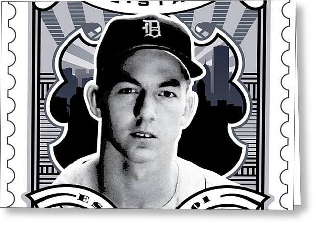 DCLA Al Kaline Detroit All-Stars Finest Stamp Art Greeting Card by David Cook Los Angeles