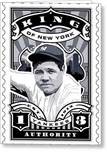 Babe Ruth World Series Greeting Cards - DCLA Babe Ruth Kings Of New York Stamp Artwork Greeting Card by David Cook Los Angeles
