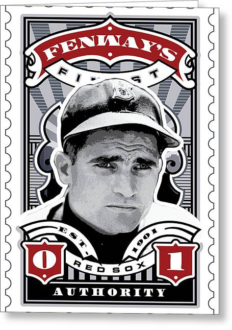 Tickets Boston Greeting Cards - DCLA Bobby Doerr Fenways Finest Stamp Art Greeting Card by David Cook Los Angeles
