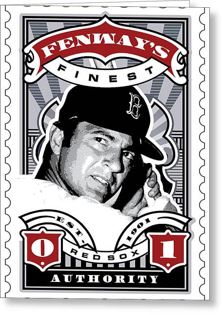 Red Sox Roster Greeting Cards - DCLA Carl Yastrzemski Fenways Finest Stamp Art Greeting Card by David Cook Los Angeles
