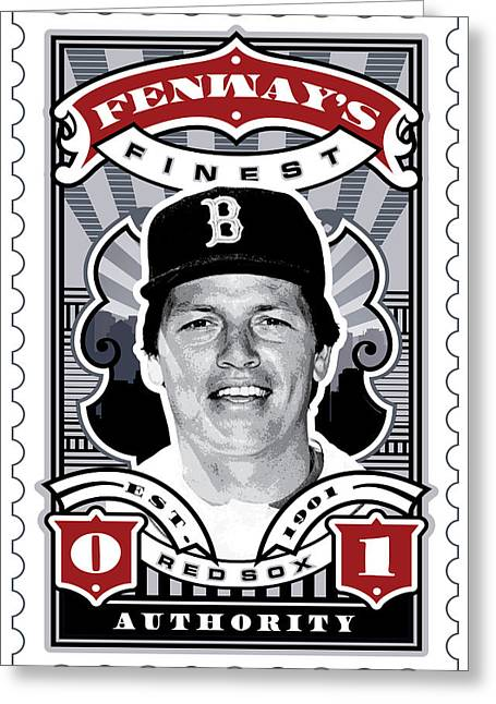 Red Sox Art Greeting Cards - DCLA Carlton Fisk Fenways Finest Stamp Art Greeting Card by David Cook Los Angeles
