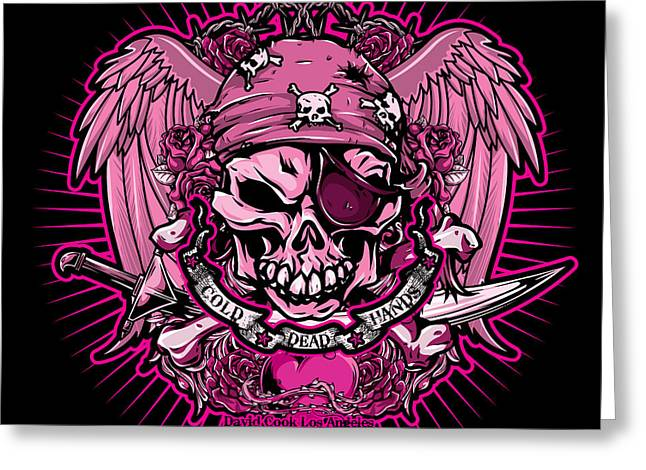 Pirates Greeting Cards - DCLA Cold Dead Hand Pirate Pink Greeting Card by David Cook Los Angeles