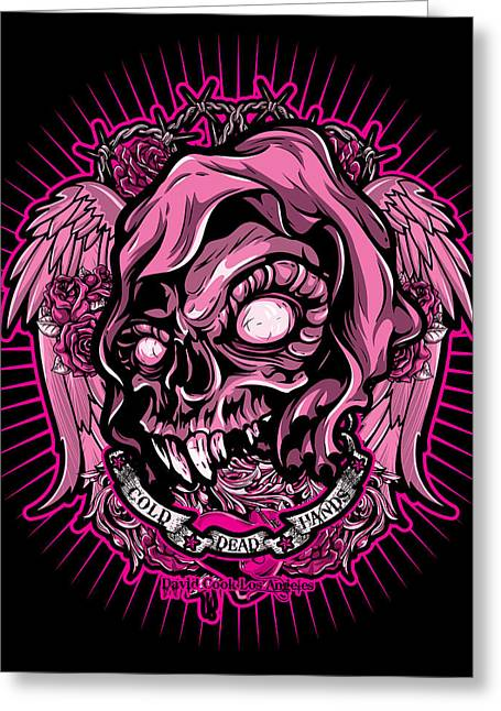 Dcla Cold Dead Hand Zombie Pink 3 Greeting Card by David Cook Los Angeles