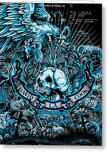 David Cook Los Angeles Greeting Cards - DCLA Designed Skull Heaven And Hell Artwork 5 Greeting Card by David Cook Los Angeles