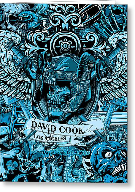 David Cook Los Angeles Greeting Cards - DCLA Designed Skull Heaven And Hell Artwork 7 Greeting Card by David Cook Los Angeles