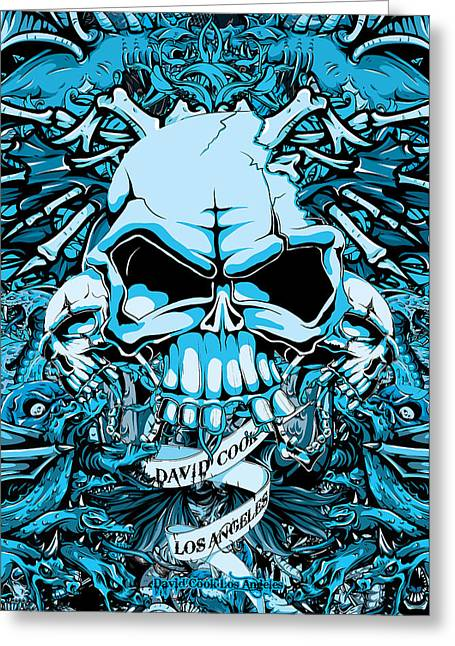 Pow Greeting Cards - DCLA Designed Skull Hell On Earth Artwork 7 Greeting Card by David Cook Los Angeles