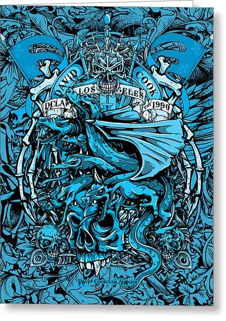 David Cook Los Angeles Greeting Cards - DCLA Designed Skull Medievel Dragon Artwork Greeting Card by David Cook Los Angeles