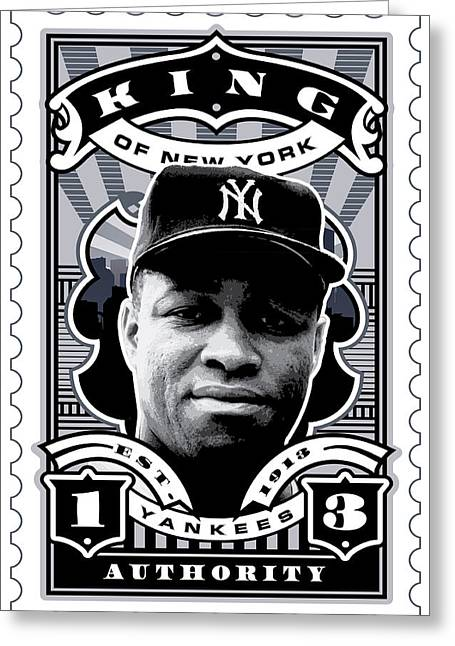 Hall Of Fame Greeting Cards - DCLA Elston Howard Kings Of New York Stamp Artwork Greeting Card by David Cook Los Angeles