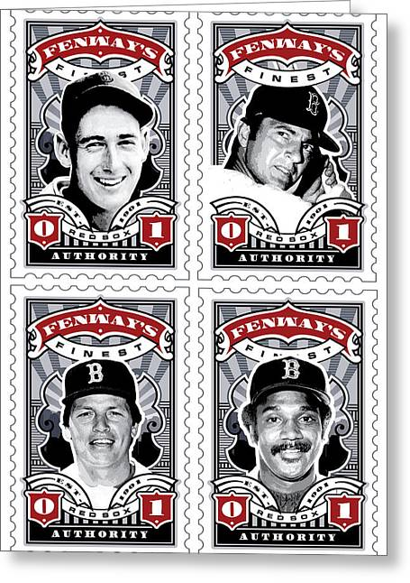 Red Sox Roster Greeting Cards - DCLA Fenways Finest Combo Stamp Art Greeting Card by David Cook Los Angeles