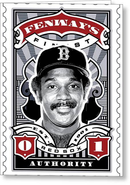 Tickets Boston Greeting Cards - DCLA Jim Rice Fenways Finest Stamp Art Greeting Card by David Cook Los Angeles