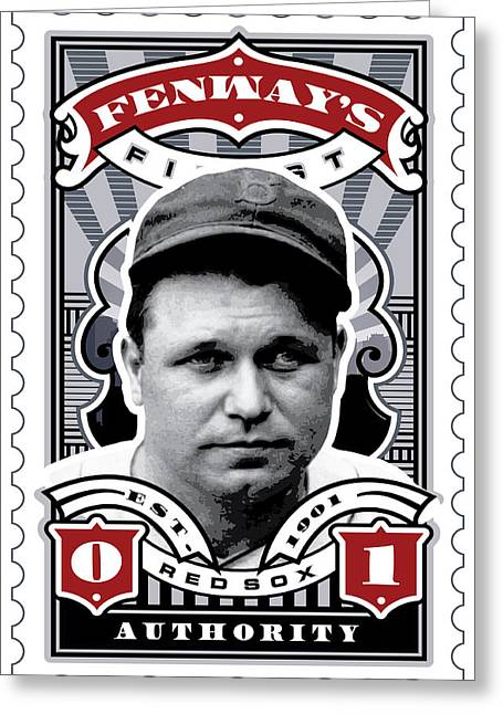 Mlb.com Greeting Cards - DCLA Jimmie Fox Fenways Finest Stamp Art Greeting Card by David Cook Los Angeles