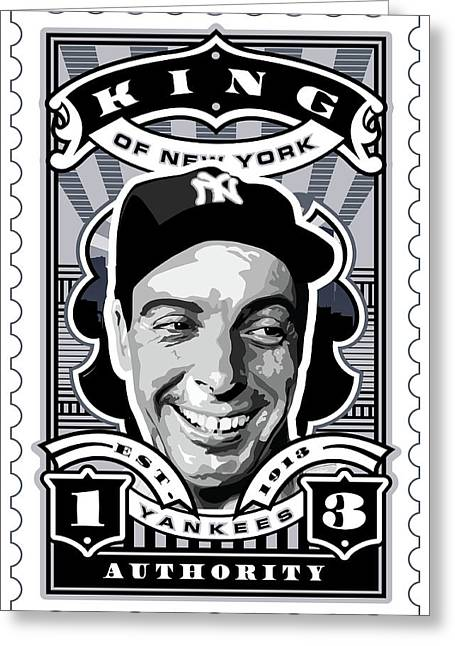 Babe Ruth World Series Greeting Cards - DCLA Joe DiMaggio Kings Of New York Stamp Artwork Greeting Card by David Cook Los Angeles