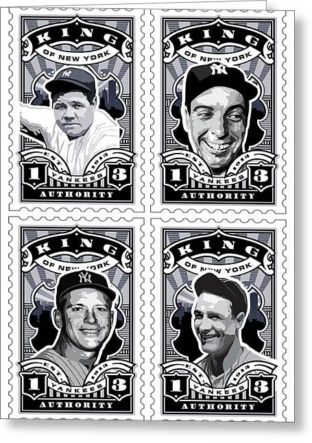 Babe Ruth World Series Greeting Cards - DCLA Kings Of New York Combo Stamp Artwork 1 Greeting Card by David Cook Los Angeles
