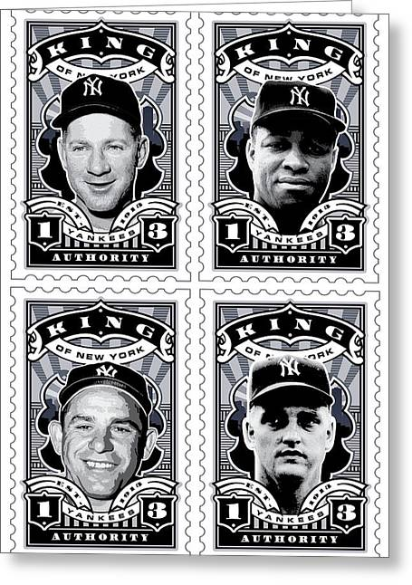 Babe Ruth Vintage Photo Greeting Cards - DCLA Kings Of New York Combo Stamp Artwork 2 Greeting Card by David Cook Los Angeles