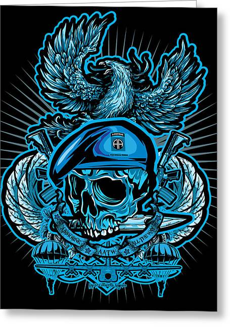 Cards Framed Prints Greeting Cards - DCLA Los Angeles Skull 82nd Airborne Artwork Greeting Card by David Cook Los Angeles
