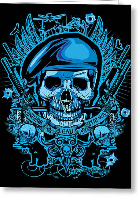 Cards Framed Prints Greeting Cards - DCLA Los Angeles Skull Army Ranger Artwork Greeting Card by David Cook Los Angeles