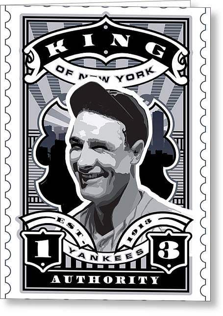 Dcla Lou Gehrig Kings Of New York Stamp Artwork Greeting Card by David Cook Los Angeles
