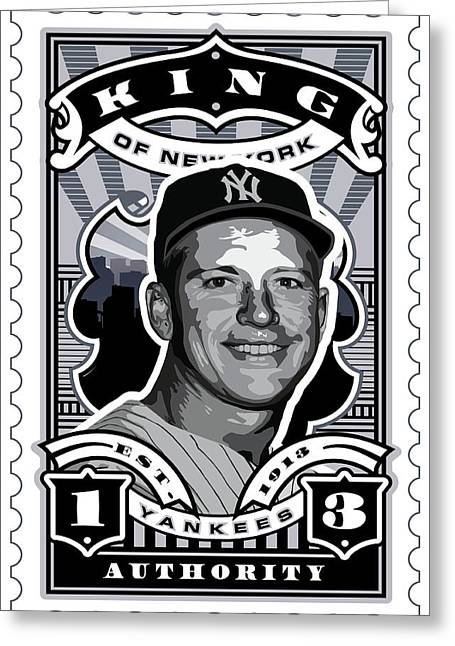 Babe Ruth World Series Greeting Cards - DCLA Mickey Mantle Kings Of New York Stamp Artwork Greeting Card by David Cook Los Angeles