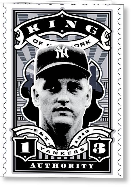 Babe Ruth Vintage Photo Greeting Cards - DCLA Roger Maris Kings Of New York Stamp Artwork Greeting Card by David Cook Los Angeles