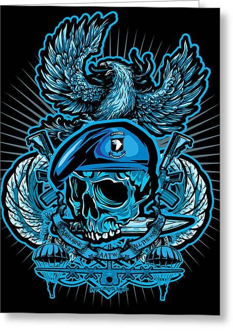 David Cook Los Angeles Greeting Cards - DCLA Skull Airborne All The Way Greeting Card by David Cook Los Angeles