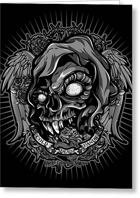 David Cook Los Angeles Greeting Cards - DCLA Skull Cold Dead Hand Gray 3 Greeting Card by David Cook Los Angeles