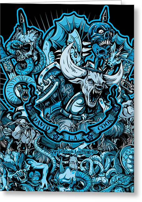David Cook Los Angeles Greeting Cards - DCLA Skull Hell On Earth 2 Artwork Greeting Card by David Cook Los Angeles