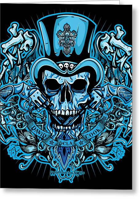 Rockers Greeting Cards - DCLA Skull Rocker Wings Greeting Card by David Cook Los Angeles
