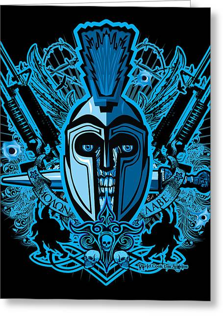 Pow Greeting Cards - DCLA Skull Spartan Marine Molan Labe Greeting Card by David Cook Los Angeles