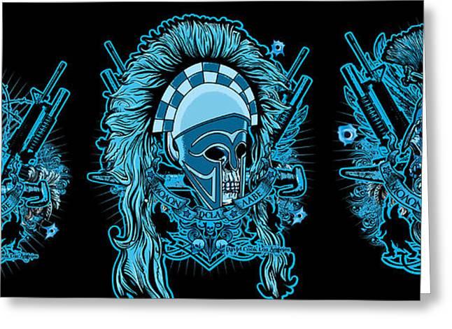 David Cook Los Angeles Greeting Cards - DCLA Skull Spartan Marine Molon Labe Compilation Greeting Card by David Cook Los Angeles