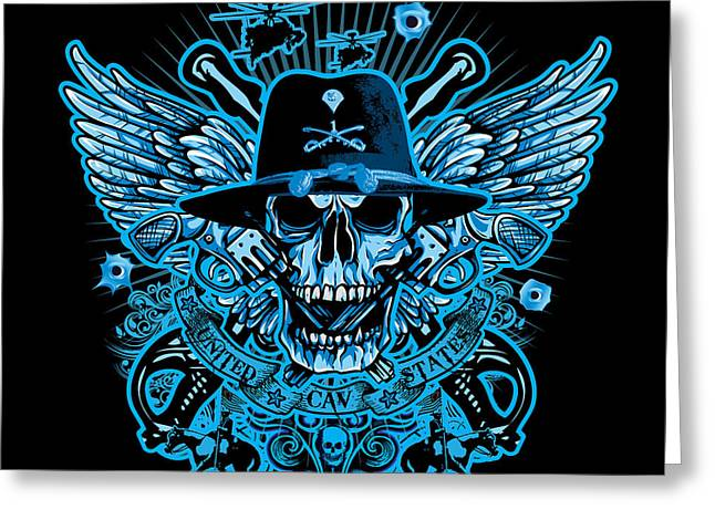 David Cook Los Angeles Greeting Cards - DCLA Skull US Army Calvary Greeting Card by David Cook Los Angeles