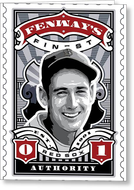 Tickets Greeting Cards - DCLA Ted Williams Fenways Finest Stamp Art Greeting Card by David Cook Los Angeles