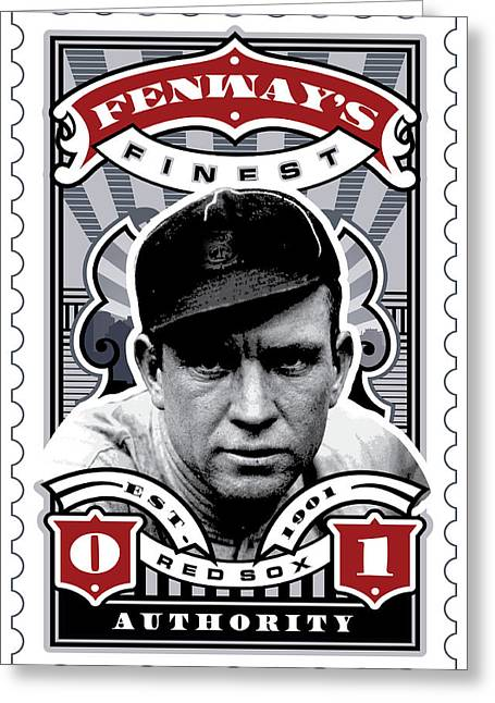 Tickets Boston Greeting Cards - DCLA Tris Speaker Fenways Finest Stamp Art Greeting Card by David Cook Los Angeles