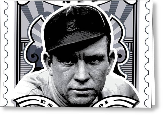 DCLA Tris Speaker Fenway's Finest Stamp Art Greeting Card by David Cook Los Angeles